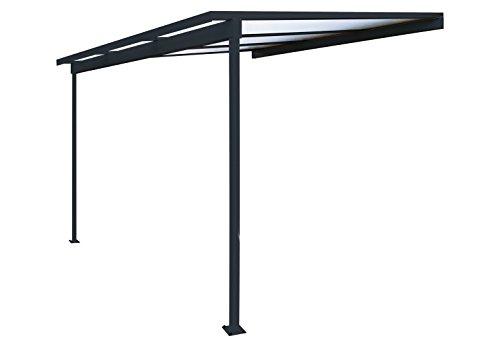 Pergola en aluminium Top Prix adossée toiture en polycarbonate 10 mm avec gouttière – Gris – 3x3m