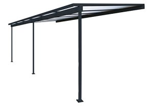 Pergola en aluminium Top Prix adossée toiture en polycarbonate 10 mm avec gouttière – Gris – 6x3m