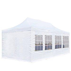 Tente Pliante 3 x 6 m ECONOMY PE 300 g/m² blanc + Bâches Côté + Housse / Barnum Chapiteau Pliant Tonnelle Stand Paddock Réception