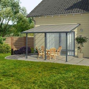Toit terrasse gris avancée 3 x 4 m -Dim : 425 x 295 x 260 cm -PEGANE-