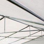 Abri / Tente de stockage PREMIUM – 5 x 10 m en gris – avec cadre de sol et renforts de toit, bâches en PVC haute densité 500 g/m² 100% imperméable, armature en acier galvanisé (antirouille), fixage par boulonnage