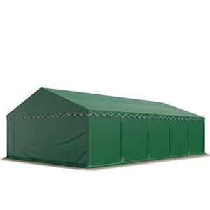 Abri / Tente de stockage PREMIUM – 5 x 10 m en vert fonce – avec cadre de sol et renforts de toit, bâches en PVC haute densité 500 g/m² 100% imperméable, armature en acier galvanisé (antirouille), fixage par boulonnage