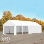 Abri / Tente de stockage PREMIUM – 6 x 12 m en vert fonce – avec cadre de sol et renforts de toit, bâches en PVC haute densité 500 g/m² 100% imperméable, armature en acier galvanisé (antirouille), fixage par boulonnage