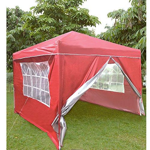 Anaelle Pandamoto Tonnelle Tente de Réception Pliante Imperméable Pavillon du Jardin Extérieure Chapiteau Barnum Etanche PE Couvert, Taille: 3x3m, Poids: 13kg (Rouge)