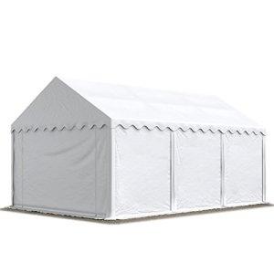 Abri / Tente de stockage ECONOMY – 3 x 6 m en blanc – toile PVC 500 g/m² imperméable / protection contre les rayons UV (80+) / structure robuste en acier galvanisé
