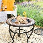 La Hacienda Ithaque striée Brasero en acier avec grille, Noir avec Bleu/crème, carreaux, 63x 63x 63cm