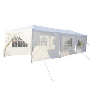 SAILUN® 3 x 9 m blanc Pavillon de jardin Tente de jardin Pavillon de tente à bière, bâche imperméable en PE, 8 parois latérales, 6 x fenêtres, 2 x portes zippées