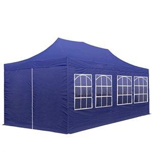 Tente Pliante 3 x 6 m – avec Bâches de Côté ECONOMY PE 300 g/m² bleu fonce + Housse Barnum Chapiteau Pliant Tonnelle