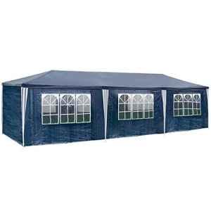 MCTECH® 3 x 9 m bleu Tente de réception exterieure Tente de jardin Pavillon Tente de bière Tente de fête Pavillon de fête comprenant,8 parois latérales, 6 x fenêtres, 2 x portes zippées, bâche imperméable en PE
