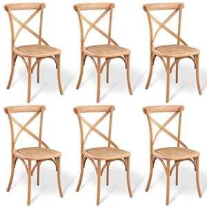 WEILANDEAL Chaise de Salle a Manger 6 Pcs Chene Massif 48 x 45 x 90 cmMateriau : Chene Massif + rotin Housse de Chaise Salle Manger