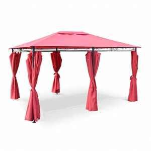 Alice's Garden Tonnelle 3 x 4 m – Nicae – Toile Rouge – Pergola avec Rideaux, Tente de Jardin, Barnum, chapiteau, Réception