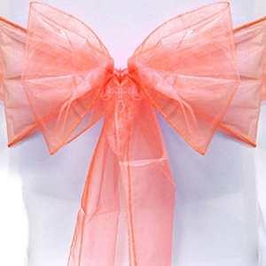 Dossier de Chaise Housse de chaise Organza Bowknot Décor rubans Nœud papillon fête de mariage Restaurant salle à manger ruban Décoration pack of 1 pêche