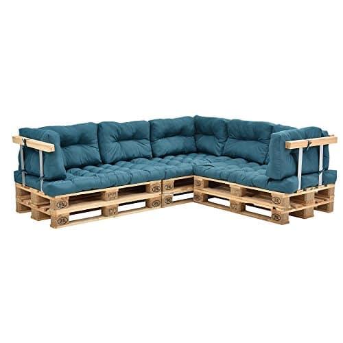 Encasa [en.CASA] Coussins pour palettes – 11 pièces – Coussin de siège + Coussins de Dossier [Turquoise] Canapé de palettes in/Outdoor