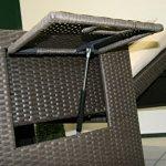 greemotion Lit de jardin modulable marron Bahia pour deux personnes – Bain de soleil double en résine tressée – Canapé de jardin convertible 2 places – Chaise longue de jardin
