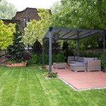 Palram Milano 3000 Tonnelle de Jardin Toit Plat – Structure Aluminium et Toit Rigide 3X3 – Pour Couvrir une Terrasse Toute L'année – Garantie 10 Ans