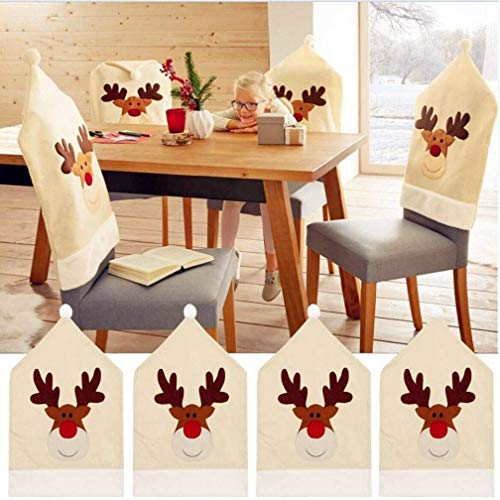 Renne Noël Housse de chaise (Lot de 4) Cerf de Noël décoration table 50 x 60 cm