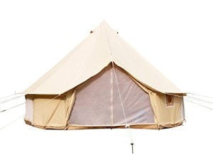 Safari Camping Toile de Coton Tente de Bell avec Fermeture Éclair en Tapis de Sol étanche (Tente en Toile de Coton Beige, Diameter 5m)