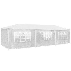 TecTake 800085 Tonnelle Tente Gazebo Pavillon de Jardin d'événement pour fête 9×3 m – diverses Couleurs au Choix – (Blanc | no. 400934)