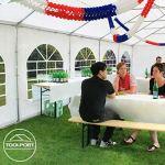 Tente de réception 5×10 m en bleu-blanc Chapiteaux mariages – PREMIUM – 500g/m² PVC – cadre del sol