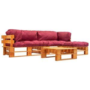 Tidyard Canapé 3 Places 4 pcs | Canapé de Jardin Palette | Canapé de Terrasse avec Coussins Rouge Pinède FSC Marron Miel