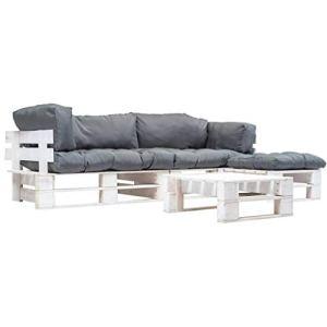 Tidyard Canapé de Jardin Palette 4 pcs | Canapé d'Extérieur | Mobilier de Jardin avec Coussins Gris Bois FSC