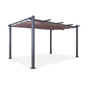 Tonnelle/Pergola Aluminium 3x4m Toile coulissante rétractable – Gris Taupe – Hero XL