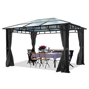 TOOLPORT Pavillon de Jardin 3x4m imperméable Toit en Polycarbonate ALU Deluxe pavillon 8mm pavillon 4 côtés Partie Tente Gris 9x9cm Profil
