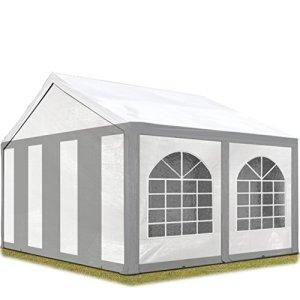 TOOLPORT Tente de réception 3×4 m Toile de Haute qualité 240g/m² PE Gris-Blanc Construction en Acier galvanisé avec raccordement par vissage