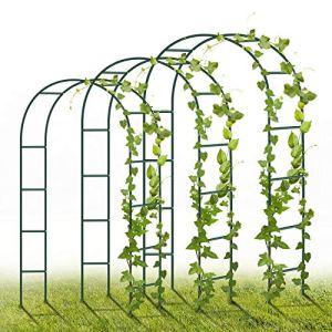 YAOBLUESEA Lot de 3 Arches de Roses en métal 240 x 140 x 38 cm pour décoration de Jardin avec Plantes, Fleurs et Ballon pour Anniversaire, Mariage, soirée Romantique (Vert)