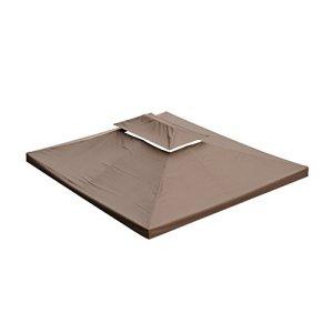 Homcom Toile de rechange pour pavillon tonnelle tente 3 x 4 m chocolat