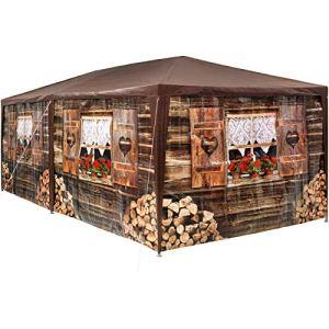 TecTake 402985 – Tonnelle de Jardin Motif Chalet 3×6 m, 6 Parties latérales Amovibles, Charpente métallique Stable