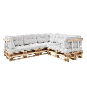 [en.casa] Canapé de palettes – 5-siège avec coussins – (blanc) kit complète incl. accoudoir et dossier