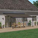 Palram Capri Pergola Adossée Aluminium Et Polycarbonate 3×6, pour Couvrir Une Terrasse Toute L'année – Garantie 7 Ans (18.3m², Gris Bronze)