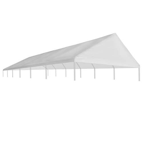 Tidyard Toit de Tente de Réception | Toit de Tente Pliable | Toit de Tente de Jardin | Toit de Tonnelle Anti UV et à l'eau 6 x 12 m Blanc