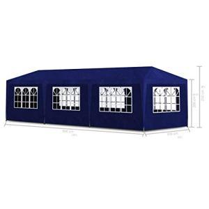 Lechnical Tente de Jardin Pratique en polyéthylène Bleu, Tente de Rassemblement extérieure 9 x 3 x 2,55 m-Toit et Panneaux latéraux en PE avec fenêtres décoratives