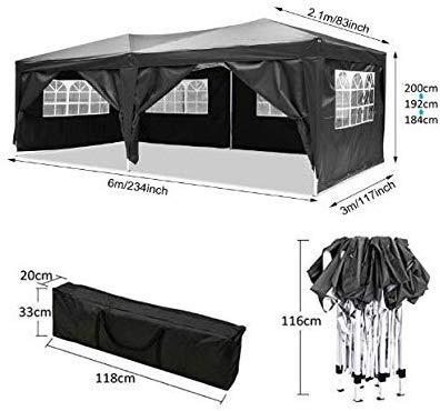 Oppikle Tonnelle Pliante imperméable 3x3m/3x6m Tonnelle de Jardin Gazebo Pliable Pavillon de Jardin Tente de Reception pour Jardin fête, Protection UV (3x6m Noir)