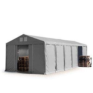 TOOLPORT Tente de Stockage entrepôt 6×12 m Hall Hangar avec Hauteur de côté de 3m bâche PVC Gris 550 g/m² 100% imperméable abri Long Terme Porte coulissante