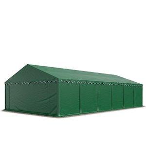 Abri / Tente de stockage PREMIUM – 6 x 12 m anti-feu en vert fonce – avec cadre de sol et renforts de toit, bâches en PVC haute densité 500 g/m² 100% imperméable, armature en acier galvanisé (antirouille), fixage par boulonnage
