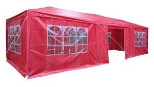 AIRWAVE Tonnelle de réception 3 x 9 m avec 3 Barres Pare-Vent Uniques et Panneaux latéraux 120 g Imperméable 9mtr x 3mtr Red