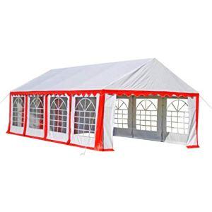Barnum châpiteau tente de réception mariage 4 x 8 m blanc rouge
