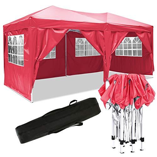 Eloklem Jardin étanche Tonnelle Tente de Reception Pliante pavillon 3 x 6 m Camping Pavillon Gazebo avec 4 côtés (3 x 6 m, Rouge)