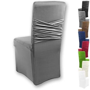 Gräfenstayn Housse de chaise universelle Victoria – avec nœud – différentes couleurs pour dossiers de chaise ronds et carrés anthracite