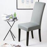 Housse de chaise Décor 6 pièces housse de chaise Stretch-Housse Couverture de chaise de matériau spandex avec bande élastique pour un ajustement universel, couvercle extensible Lycra, très facile à nettoyer et durable (Paquet de 6, Gris-Argent)
