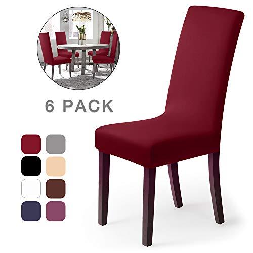 Housse de chaise Décor 6 pièces housse de chaise Stretch-Housse Couverture de chaise de matériau spandex élastique pour un ajustement universel,très facile à nettoyer et durable(Paquet de 6 , Rouge)