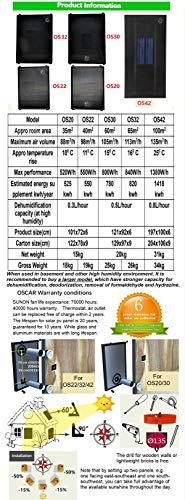 Nakoair Réchauffeur d'air solaire collecteur OS22 (Marron) 550W Conditionneur Ventilateur d'extraction Sécheur Panneau de chauffage d'espace Déshumidificateur Ventilation Pompe à chaleur