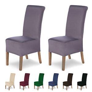 SCHEFFLER-HOME Housses de chaises Lena 2 pièces, Couverture Spandex, revêtement de Chaise, Housses élastiques, Couvre-chaises Modernes Universel, avec Une Hauteur d'assise 20-24cm Shark Gris