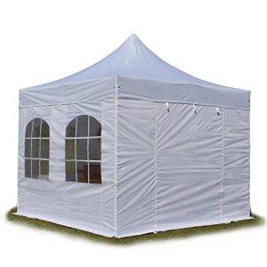 Tente Pliante PREMIUM 400 g/m² 3×3 m avec fenêtres blanc + housse / Barnum Chapiteau Pliant Tonnelle Stand Paddock Réception abri INTENT24