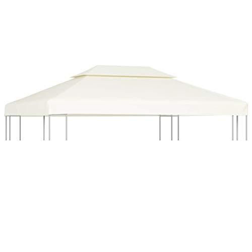 Toile de Rechange Imperméable pour Gazebo Tonelle Pergola 270 g / m² Blanc 3 x 4 m