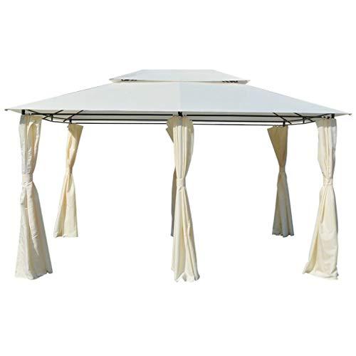 vidaXL Tonnelle avec Rideaux Blanc 4×3 m Tente de Réception de Jardin Terrasse