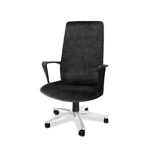 CAVEEN Housse de Chaise de Bureau Démontable Elastique Amovible Housse de Fauteuil Simplissime Style Protecteur pour Chaise de Bureau Chair Cover (Noir, L)
